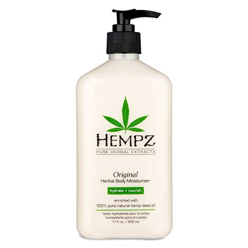 Original, Natural Hemp Seed Oil Body Moisturizer with Shea Butter and Ginseng, 17 Fl Oz - Pure Herbal Skin Lotion for Dryness - Nourishing Vegan Body Cream in Floral and Banana