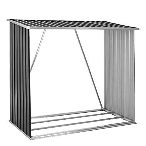 Brennholzunterstand Brennholz Holz Regal Lager Kaminholz Unterstand Metall Anthrazit