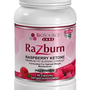 BioSource Labs Razburn – Premium, Extra Potent 100% Pure Raspberry Ketones – All-Natural Thermogenic Weight Loss Pills with Caffeine and Green Tea Extract for Men & Women – (60 Vegetarian Capsules) 1 - My Weight Loss Today