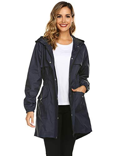 Avoogue Womens Rain Jackets Waterproof with Hood Lightweight Long Hooded Trench Coats Navy Blue