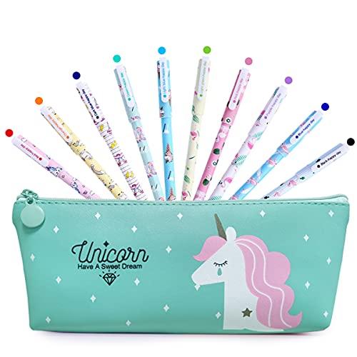 BIQIQI Penne Unicorno Set con Astuccio Bambina Scuola Regali Compleanno 10 Penne Colorate per Bambini Et 3 4 5 6 7 8 9 10 Anni Simpatiche Penne per Ragazze Regalo Cancelleria Ufficio Forniture