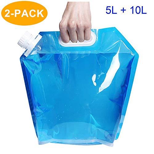 CAVN Poche Sac à Eau Réservoir d'eau Portable [5L + 10L] pour Randonnée...