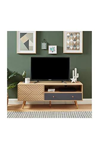 ETNIK Mobile TV 1 anta 1 cassetto - Grigio - L 130 x P 39,5 x H 50 cm