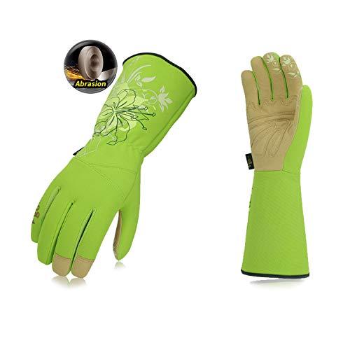 Vgo Guanti da giardinaggio in pelle sintetica per donna con polsino lungo (Taglia 8 / M, Verde,...
