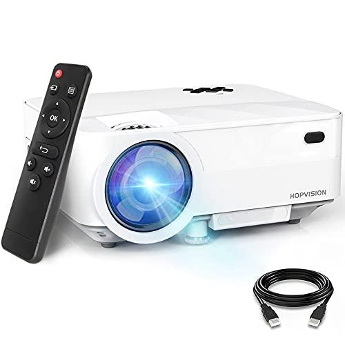 HOPVISION Retroprojecteur,6000 Lumens Mini Projecteur 1080P Full HD,Vidéoprojecteur avec 240' Display, Projecteur Portable 90000 Heures Compatible avec HDMI/USB/SD/AV/VGA