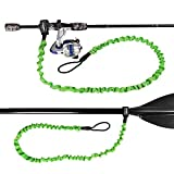KUDO! Paddle Leash Stretchable Kayak Paddle Tether Coiled Strap for Kayaking Canoe Leash Rod SUP Board Surfboard, Fishing Poles (Green 6 Feet) 2 Pack