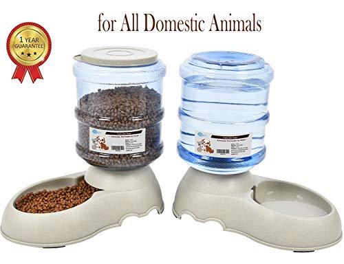 YGJT Automatischer Futterspender Katze/Hunde Wasserspender und Futterspender Haustier Automatischer Wasserspender,Futterautomat Katze,Katzen Trinkbrunnen Hund Schüssel jeweils 3.8 L (Klassisch)