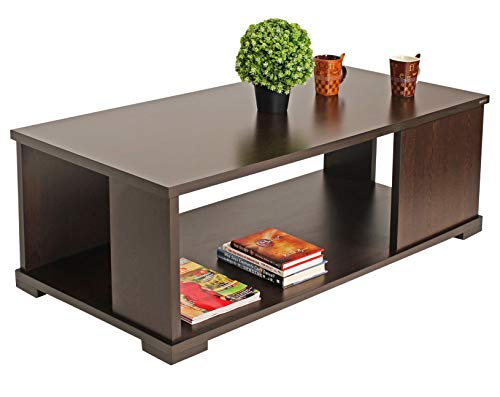 BLUEWUD Noel Engineered Wood Coffee Table/Centre Table with Shelves (Rectangular Wenge)