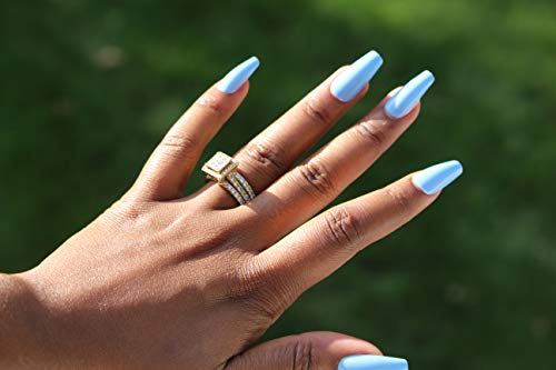 Baby Blue Medium Long Stiletto press on false Nail tips 20pcs full cover fake nail
