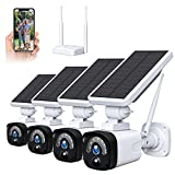 Solar Security Camera System Outdoor Wireless WiFi 4 Pack, 1080P Solar Powered Security Camera(Includes Base Station & 4 Camera), 2-Way Audio, Night Vision, PIR Motion Detection, IP65 Waterproof