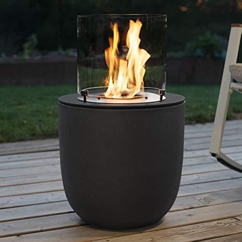 muenkel Design Vagos - Asphalt Black - Bio-Ethanol Fire Pit Garden Torch Patio Fire with Round Burner 300 Combustion Chamber