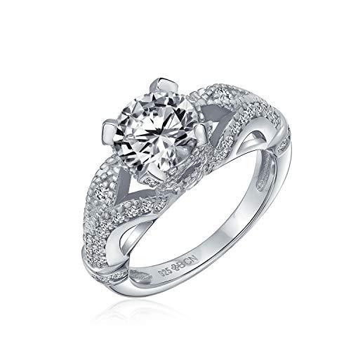 Bling Jewelry 3Ct Estilo Antiguo Solitario Redondo Plata Esterlina 925 AAA Filigrana Micropave CZ Anillo De Compromiso Mujer