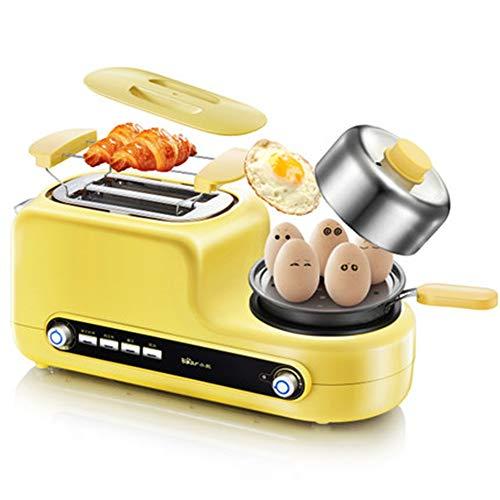 GYJ Multifunktions-Toaster, 2-Scheiben-Toaster mit Mini-Bratpfanne, Dampfgarer, 6-Farb-Steuerung, gebraten, gedünstet, geröstet, gedämpft, gekocht, gleichmäßig erhitzt