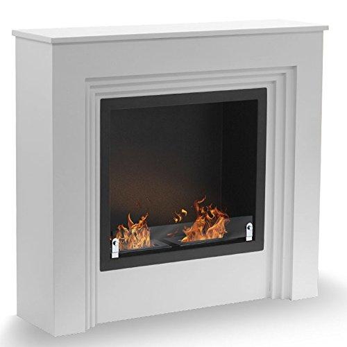 Genova–White, XXL Bio Ethanol Fireplace (Pan, Floor Stand, Portable, Mobile, Large,, Large Frying Pan)