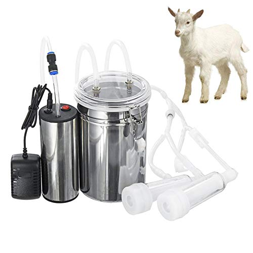 Milking Machine Kit for Goat Sheep Portable Electric Milker Milking Machine with 2 Teat Cups, Adjustable Vacuum Pump Food Silicone Grade Hose 2L