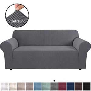 H.VERSAILTEX Stretch Sofa Cover Couch Covers Sofa Covers for 3 Cushion Couch Sofa Protector Cover for Living Room, Small Checks Jacquard Soft Thick, Removable and Washable(Sofa 72'-96': Grey)