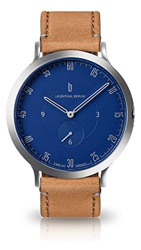 Lilienthal Berlin Unisex Armbanduhr L1 in Silber-Blau mit hellbraunem Lederarmband | Prämiertes Design | Qualität Made in Germany | Höchster L01-103-B006A