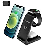 Wireless Charging Stand, GEEKERA 3 in 1 Wireless Charger Charging Dock Station for Apple Watch 6 SE 5 4 3 2, Airpods 2/Pro, iPhone 12/12PRO/11/11 Pro/X/Xr/Xs/8 Plus,Qi-Certified Phones