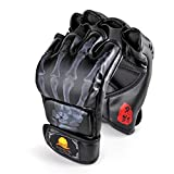 ZooBoo MMA Gloves, Half-Finger Boxing Fight Gloves MMA Mitts with Adjustable Wrist Band UFC Gloves for Sanda Sparring Punching Bag Training (One Size Fits Most)
