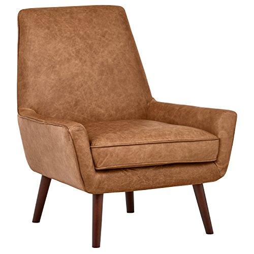 Amazon Brand – Rivet Jamie Leather Mid-Century Modern Low Arm Accent Chair, 31'W, Cognac
