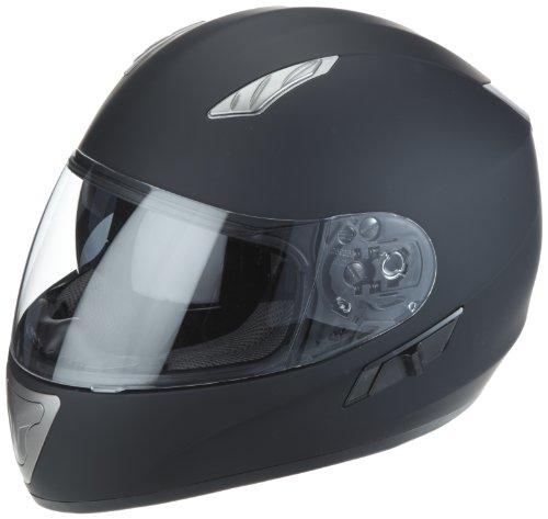 Protectwear Casque de moto, noir mat, avec visière teintée intégrée, H520-ES, Taille: M