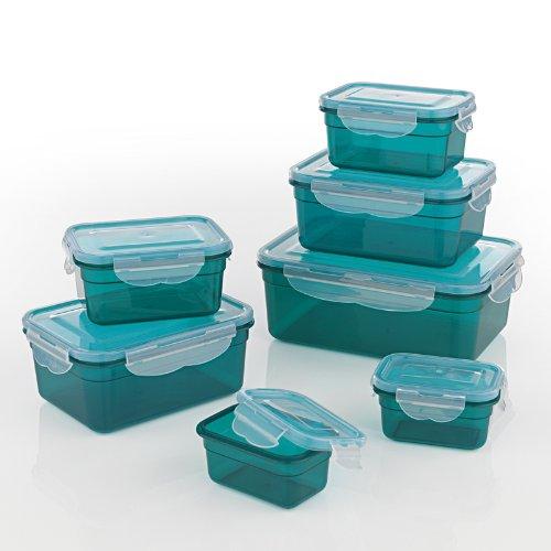 GOURMETmaxx Frischhaltedosen Klick-it 14 tlg. | Spülmaschinen- Mikrowellen- und Gefrierschrankgeeignet | Deckel BPA-frei mit 4-fach-Klick-Verschluss | Ineinander stapelbar [4 verschiedene Größen, smaragdgrün]