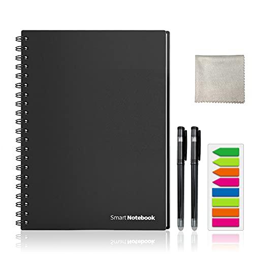 HOMESTEC Cuaderno Inteligente Reutilizable   Tamaño A4   Hojas borrables y adaptadas para escaneo a PDF mediante APP   Incluye Bolis y Marcadores Adhesivos