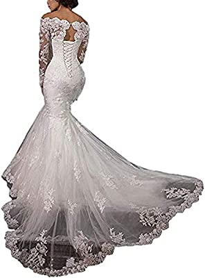 Fabric: Lace,Tulle. Please refer to OUR size chart displayed next to the main item images,and CUSTOM make is available. Sexy Mermaid /Lace Applique Tulle /Long Sleeves /Off Shoulder/With a lace up back/Chapel Train To prevent the size issue, please r...