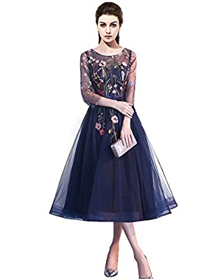 2018 New 3D flower embroidered lace tull cocktail evening prom dress with sleeves tea length formal homecoming gown Every dress is handmade by dressmaker, Quality is guaranteed. So Please double check your bust,waist, hip, full height and hollow to f...