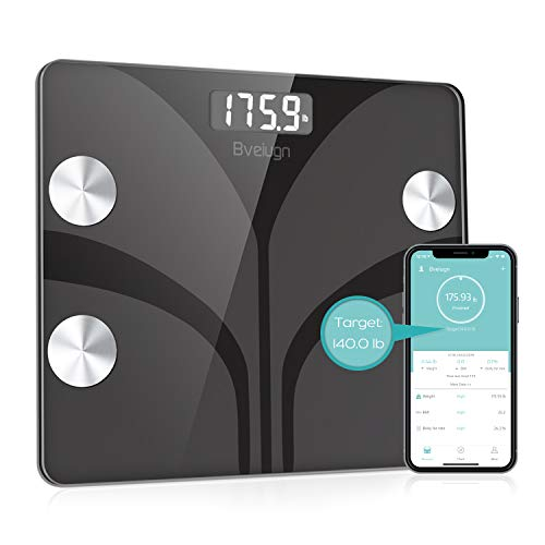 Body Fat Scale, Bveiugn Smart Wireless Digital Bathroom BMI Weight Scale, Body Composition Analyzer Health Monitor with Tempered Glass Platform Large Digital Backlit LCD with Smartphone App