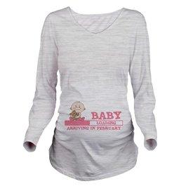 CafePress Arriving in February Long Sleeve Maternity Tee
