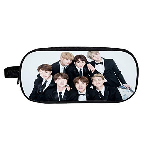 Falaidi - Astuccio doppio per la scuola, del gruppo K-pop Bangtan Boys (BTS), per riporre cancelleria e monete, idea regalo per i fan dei BTS, Uomo, 8, Taglia unica