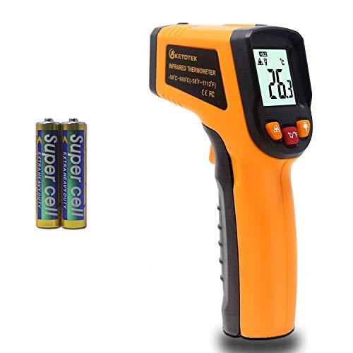 KETOTEK Laser Thermometre Infrarouge Pistolet Thermomètre Numérique -50-600°C Point Laser Pistolet Alimentaire Grade Professionnel Enregistreur 2×AAA Incluses (Jaune)