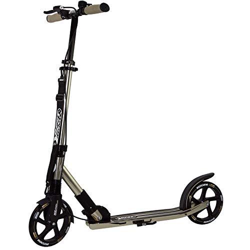 Best Sporting Scooter 205er Rolle High Class, klappbarer City-Roller mit ergonomischem Lenker, Handbremse und Klingel, Tret-Roller (Gold + Tragegurt)
