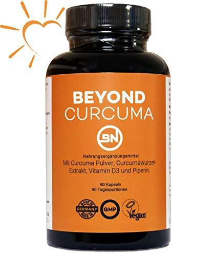 Beyond Curcuma Ayurveda Kapseln - Kurkumin Extrakt hochdosiert mit Vitamin D3 und Piperin, ohne Zusatzstoffe, 1 Kps./Tag: Curcumin Gehalt einer Kapsel = 10.000mg Kurkuma Pulver