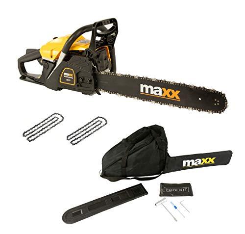Maxx Tronçonneuse Thermique 62 cm3, 3.5 CV, Guide 50 cm, 2 chaînes