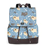 Cartoon Dog Breed Pug With Paws Women'S Leather Backpack Travel Bookbag School Purse Casual Elegant Drawstring Shoulder Bag