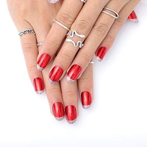 Blufly 24Pcs Christmas Glossy Red Shimmer Press on Nails Short Square Glitter Sequins Fake Nails French Nails Art Acrylic Ballerina False Nails Tips for Women and Girls (C2)