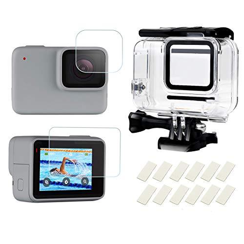 D&F Custodia impermeabile Custodia subacquea protettiva con inserti anti-appannamento e protezione per schermo per GoPro HERO 7 Silver/White