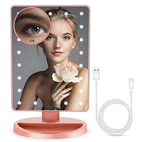 BUENOLIFE Makeup Vanity Mirror with Lights, Lighted Makeup Mirror with Detachable 10X Magnification, 21 Led Lights Adjustable Brightness, Dual Power Cosmetic Mirror - Rose Gold