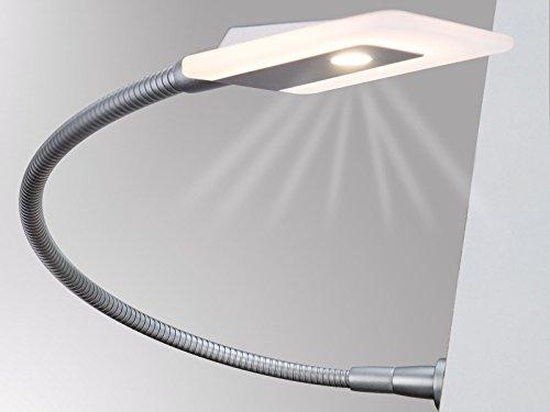 LED Bettleuchte Leseleuchte Flexleuchte Nachttischlampe Leselampe Nachtlicht, Modell:2er SET silbergrau