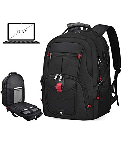 Laptop Backpack 17 Inch Waterproof Extra Large TSA Travel Backpack Anti Theft College School Business Mens Backpacks with USB Charging Port 17.3 Gaming Computer Backpack for Women Men Black 45L