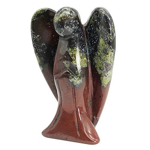 Fekuar Natural Dragon Bloodstone Guardian Angel Statue,...