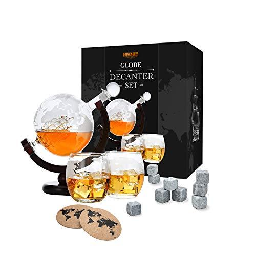 Whiskey Dekanter Set - Globus Karaffe aus Glas 850ml - 2 Whisky Gläser Set mit 9 Whiskysteinen -...