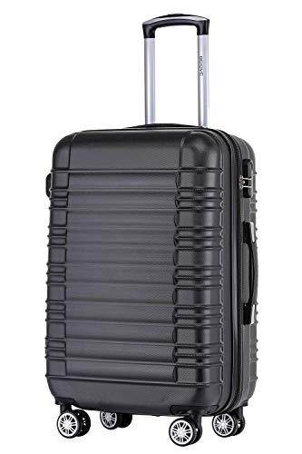 BEIBYE Zwillingsrollen Reisekoffer Koffer Trolleys Hartschale M-L-XL-Set (Schwarz, M)
