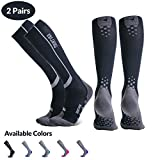 Thirty48 Elite Compression Socks, Graduated 20-30mmHg Compression for Performance and Recovery (L/XL (US Women 11-14+ / US Men 9-13), [2 Pairs] Black/Grey)