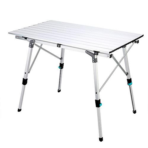 Synlyn Tavolo da campeggio portatile Tavolo pieghevole 90 x 52 x (45-67) cm Tavolo da campeggio in alluminio Tavolo pieghevole Tavolo da viaggio per campeggio Escursionismo all'aperto Pesca da viaggio