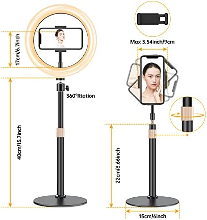 """10.2"""" Ring Light with AI Alloy Stand & Phone Holder for Reading/Makeup/Social Media Live Stream, GH DYNAMICS Dimmable Desk Ringlight for Photography/Videos, Compatible with iPhone & Android"""