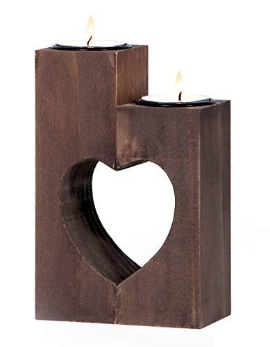 Plogis Herz Teelichthalter aus Holz - Set aus 2 Dekorativen Kerzenständern   Wohnungs-Deko &...