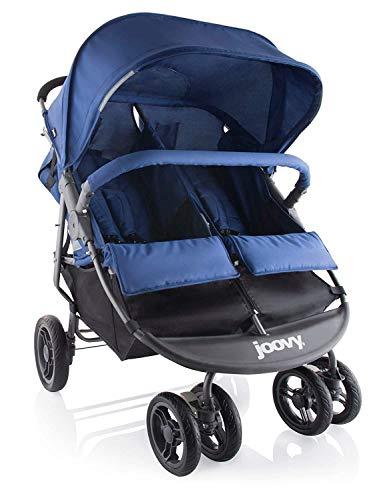 Joovy Scooter X2 Passeggino Doppio, Affiancato, Per Gemelli, Grande Cestino Portaoggetti, Blu, Mirtillo
